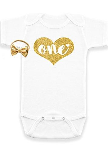 Nyla Marie Kids 1st Birthday Girl Shirt Glitter Bodysuit Baby Girl Headband Pink, Gold
