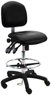 Deluxe Vinyl Ergonomic ESD Anti Static Chair/Stool with Footring, 450 lbs Capacity, 19