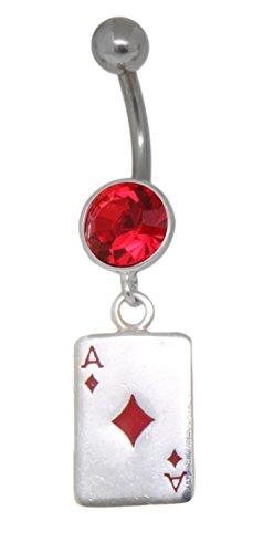 Bauchnabelpiercing Steinfassung aus Silber Kristall rot Anhänger Spielkarte Karo AS