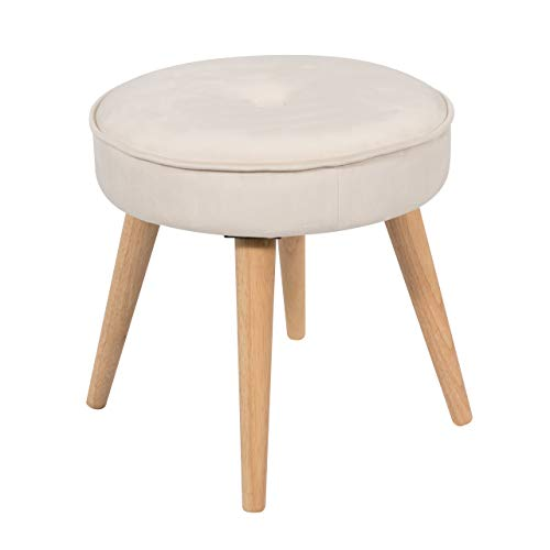 Alannah Padded Soft Round Ottoman Footrest Stool, Button Tufted Polyester Fabric Upholstery Side Table Seat, Vanity Dressing Stool with 4 Pine Wood Legs for Living Room, Bedroom, Small Space (Cream)