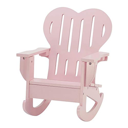 Emily Rose 18 Inch Doll Furniture   Pink Outdoor Adirondack Rocking Chair with Heart Shaped Back   Fits American Girl Dolls
