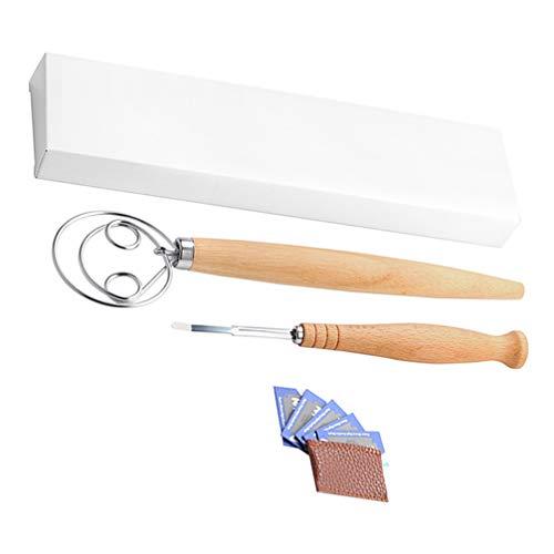 Hemoton Baking Danish Whisk Cutter Blade Set Cream Egg Dough Mixer Sourdough Bread Slicer Wooden Handle Dough Cutter Kitchen Bread Baking Gadgets