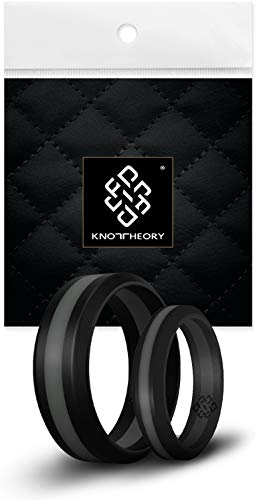 Knot Theory Black with Grey Stripe Silicone Ring Band - 8mm Size 10