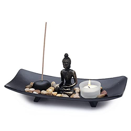 Flanacom Jardín Zen de con Figura de Buda - Jardín Japonés en Miniatura - Set de Esotherik con 3 Varillas de Incienso - Amuletos de la Suerte Budistas, Taoístas y Feng Shui (Candelabro #2)