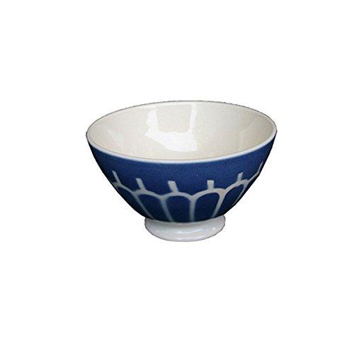 Bol à pied Fayence Keramik Schale original Niderviller handgefertigt Arkaden blau 50cl