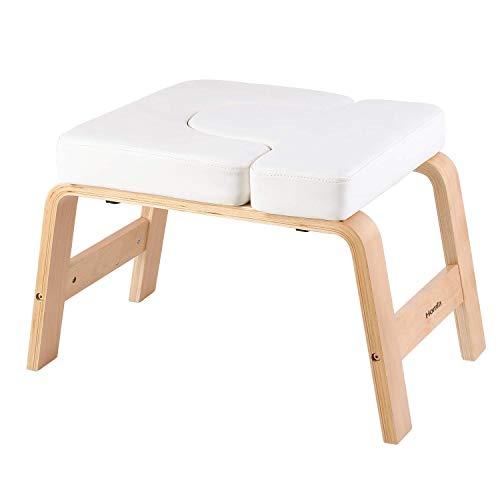 Homfa Silla de Inversión de Yoga Banco Soporte para la Cabeza Taburete de Yoga Blanco y Roble 62.5x42x39.5cm