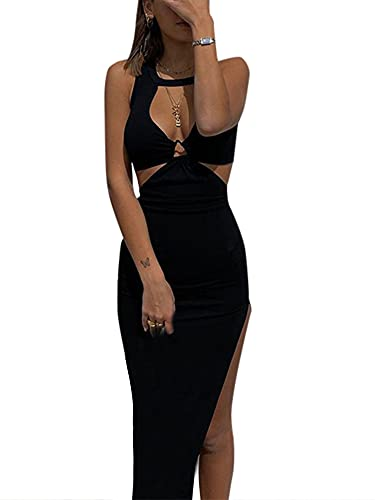 Women Sexy Tie-Up Hollow out Halter Short Dress Sleeveless Backless Bodycon Mini Dress Summer One-Piece for Girl (Black, Small)