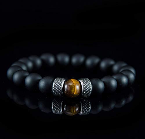 Armbänder für Herren Männer Perlenarmband Armband Kugel Tigerauge Onyx Edelstahl Silber Schwarz Braun Chakra armreif mann