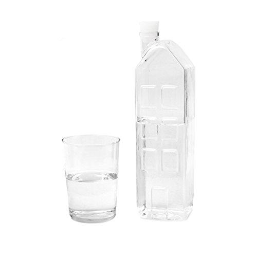 Balvi Botella La Ville Color Transparente Botella de Agua de Cristal Original En Forma de casa Jarra de borosilicato garrafa para Agua té Zumo Borosilicato 28,5x7,5x7,5