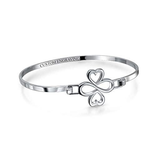 Personalized Ayllu Amulet Talisman Heart Infinity Clover Love Luck Unity Inspirational Bangle Bracelet For Women Teens .925 Sterling Silver Custom Engraved (Silver Engrave)
