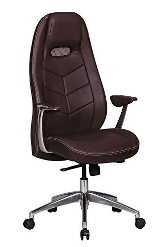 FineBuy Design chaise de bureau fauteuil de direction pivotant avec accoudoirs | chaise tournante avec appui-tête | Brun- cuir véritable - réglable en hauteur - dossier ergonomique - Capacité de charge 120 kg