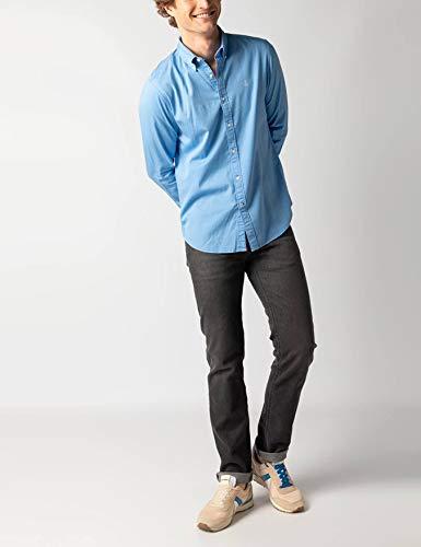 El Ganso - Colección Urban Basic - Camisa Gabardina Lisa - para Hombre - Manga Larga - Cuello de Doble Botón - Talla XXL - Azul Celeste