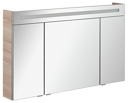 FACKELMANN Spiegelschrank B.CLEVER/dreitürig/Spiegelschrank mit gedämpften Scharnieren/Maße (B x H x T): ca. 120 x 71 x 16 cm/hochwertiger Spiegelschrank/Möbel fürs Bad/Korpus: Braun hell