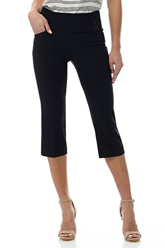 Rekucci Women's Ease into Comfort Wide Waist Capri with Back Lacing Detail (4,Black)