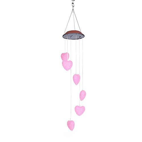 Jeankak Lámpara de campanillas de Viento, carillones de Viento de corazón, luz Solar, jardín Impermeable para Colgar en árboles, cercas, Patio