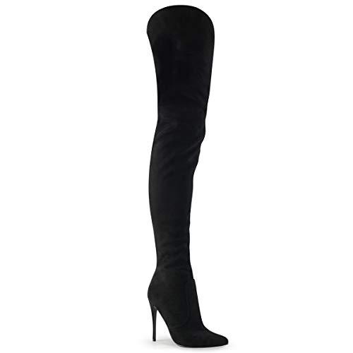 Pleaser COURTLY-3017 Damen Overknee Stiefel, Wildlederimitat Schwarz, EU 39 (US 9)