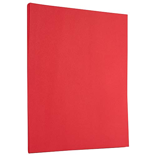 JAM PAPER Colored 24lb Paper - 90 GSM - 8.5 x 11 - Red Recycled - 50 Sheets/Pack