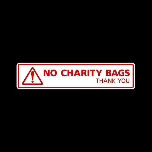 No Charity Bags Sticker Sign 200X45Mm - Vinyl Decal, Letterbox, Voordeur