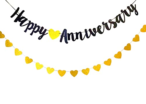Happy Anniversary Banner Gold and Black Glitter Banner with Gold Heart Bunting , Anniversary Hanging Bunting Garland for Birthday Anniversary Wedding Party Photo Props Ceremony Decoration
