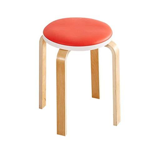 Yxsd Taburete tapizado retro taburete silla de madera 4 patas redondas silla de comedor taburete de cuero PU asiento cojín para restaurante | muebles de sala de estar (tamaño: rojo)