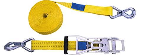 Petex 43193119 Ratschenspanngurt 2-teilig, 10 m, 50 mm, 2500/5000 daN, Karabinerhaken, Ratsche 35 cm, gelb