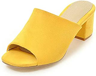 Summer Casual Soft Leather High Heels Slippers Concise Flock Solid Shoes Woman Open Toe Flip Flops Plus Size Casual Elegant Shoes (Color : Yellow, Shoe Size : 9.5)