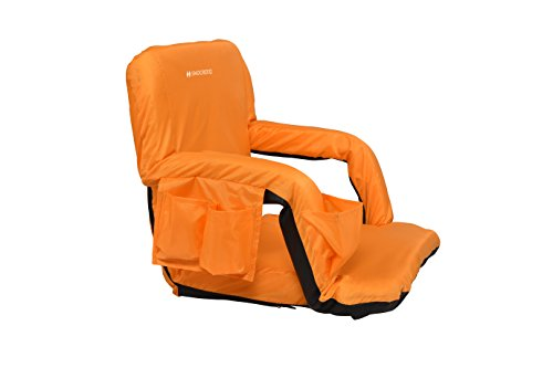 Snocreeq Portable Extra Wide Reclining Stadium seat Folding Sport Chair for Bleachers Benches Cushion Padded Back&armrests, Slip-&Water-Resistant, Easy-Carry Straps.(Orange)