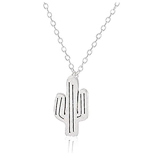 Iszie Jewelry Collar bohemio de plata de ley con colgante de cactus