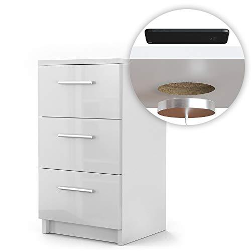 Vicco Nachtschrank Kommode Boxspringbett Nachttisch Nachtkommode Kommode Schrank - 3 Schubladen - 66cm hoch (Weiß Hochglanz mit QI Ladestation)