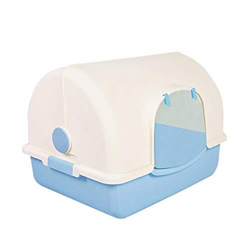 Katzenstreu Tablett Groß Völlig Geschlossen Tragbar Katzentoilettenkasten Anti-Spritzer Muschelschale Einfach zu Säubern Cat Essentials mit Katzenstreuschaufel, 48x38x37cm,Blue