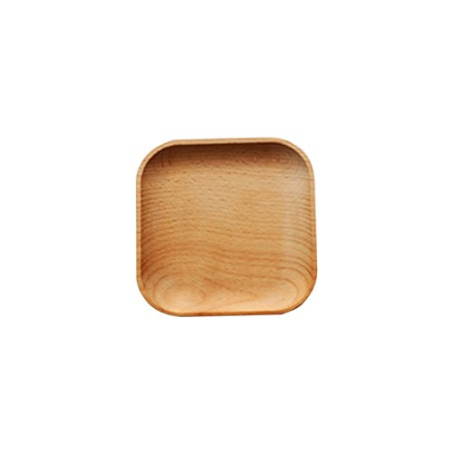 Yiying Wooden Dinner Plates, Square Wood Tray, Easy Cleaning & Lightweight for Dishes Snack, Dessert, Unbreakable Plates