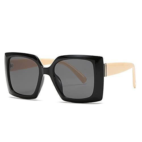 HAIGAFEW Gafas De Sol Cuadradas Naranjas Grandes para Mujer Gafas De Sol De Gran Tamaño Sombras Uv400 Proteger Los Ojos-Negro
