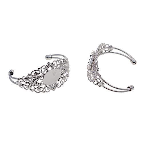 IPOTCH 2 Stück Filigrane Blume Einstellbar blank Basis Armbänder für DIY Armreif Armband Schmuck Herstellen - Silber