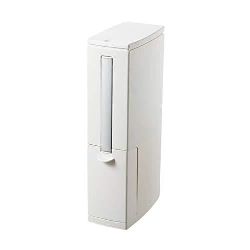 HAOXUAN Salle de Bains Poubelle et Toilettes Brosse de 1,3 gallons / 5 litres 2 en 1 Multi-Fonction étroit Poubelle avec Couvercle pour Presse Haut de Bain Cuisine,Beige