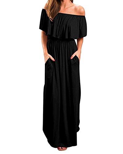 Kidsform Sommerkleider Damen Maxikleid Off Shoulder Bandeau Langes Kleid Boho Kleider Casual Strandkleider Cocktail Abendkleid Schwarz L