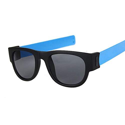 NJJX Gafas De Sol De Muñeca Plegables Para Mujer, Pulsera Con Bofetada, Gafas De Sol, Pulsera Enrollada Para Hombre Y Mujer, Vintage, Cuadrado, Negro, Azul