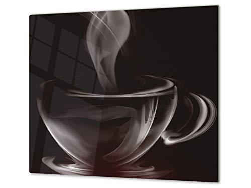 Tabla de cortar decorativa de cristal templado y cubre vitro – Dos en Uno – Resistente a golpes y arañazos – UNA PIEZA (60 x 52 cm) o DOS PIEZAS (30 x 52 cm); D05 Serie Café: Café 6