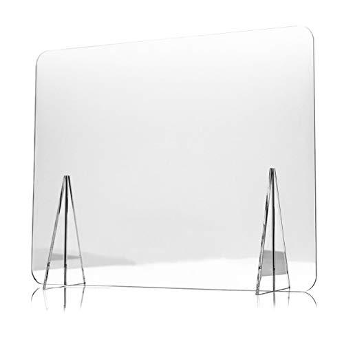 Mampara de Metacrilato de 100 x 80 cm para Escritorio y Mesa, Transparente, Grosor de 3mm, Mampara de Protección para Oficina, Bar, Cafetería y Restaurante