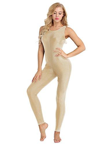 TiaoBug Damen Ballett Gymnastik Sport Trikot Anzug Body Overall ohne Arm Tank Top lange Hose Leggings Tights Yoga Tanz Leotard Bodysuit gr.S-XXL Nude S