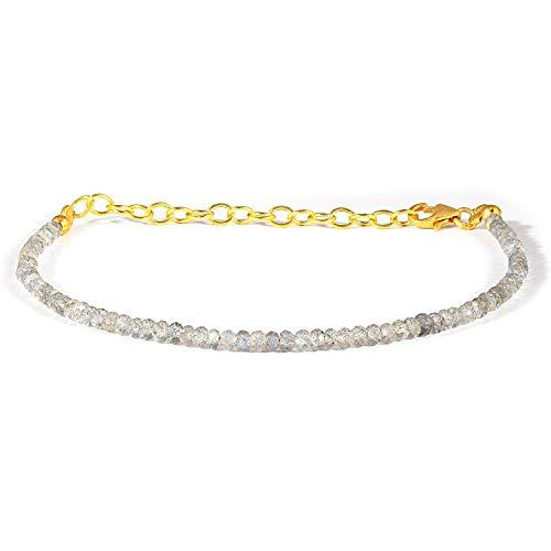 3MM Dainty Labradorite Bracelet 925 Sterling Silver Labradorite Beaded Bracelet Dainty Gemstone Bracelet Minimalist Bracelet Valentines Gift For Her For Mom
