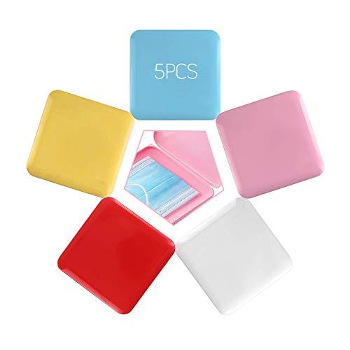 RayE 5 Stück Tragbare Aufbewahrungsboxen, Square Hygiene-Aufbewahrung für und Wiederverwendbar zum Schutz vor Schmutz und Staub + 5pcs Laryard