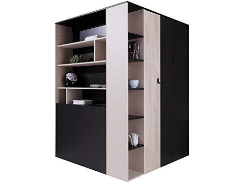 Furniture24 Eckkleiderschrank Planet PL-1, Garderobenschrank, Begehbarer Kleiderschrank, Schrank mit Einlegeböden, Schubladen, Kleiderstange und Innebeleuchtung (Schwarz/Eiche/Beige)