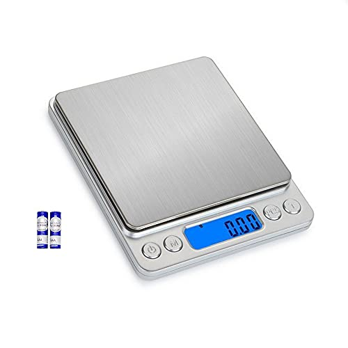 Gram Scale Daofin 3000g with Battery Mini Digital Scale Grams and Ounces Pocket Small Scales Digital Gram and Oz for Food Coffee Baking Cooking Weed Meat Weight Powder Scale Portable