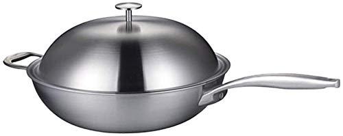 Rnwen wok puro titanio wok 32 cm wok titanio sin recubrimiento pan universal 32 cm sartenes salteado (color: titanio de acero aluminio, tamaño: 32 cm) ( Color : Titanium Aluminum Steel , Size : 32cm )