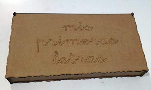 142 letras de madera DM + caja de madera. Abecedario minúsculas tipo de letra escolar