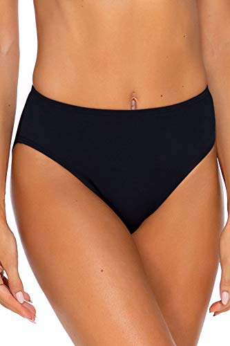 Sunsets Women's Basic Mid Rise Bikini Bottom Swimsuit, Black, Medium