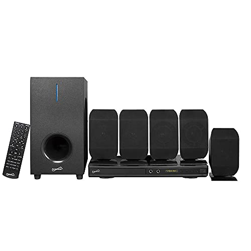 Supersonic 5.1 Channel DVD Home Theater System with USB Input & Karaoke Function, Home Theater Systems - Black (SC-38HT)