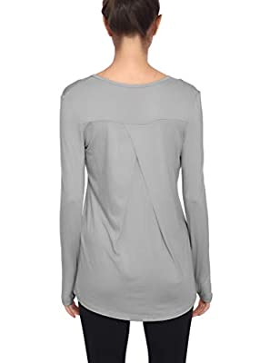 Mippo Workout Tops for Women Long Sleeve Yoga Tops Active Wear Athletic Workout Sweatshirt Gym Fitness Exercise Clothes for Women Long Sleeve Gray S
