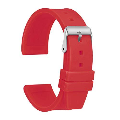Ullchro Correa Reloj Calidad Alta Recambios Correa Relojes Caucho Suave Flexible Hombre Mujer - 16, 18, 20, 22, 24, 26, 28mm Silicona Correa Reloj con Hebilla de Acero Inoxidable (16mm, Rojo)