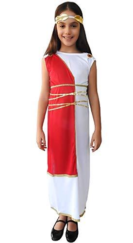 Maat m - oud romeins kostuum - wit - vermomming - meisje - 5/7 jaar - griekse godin - halloween - carnaval - feestjes